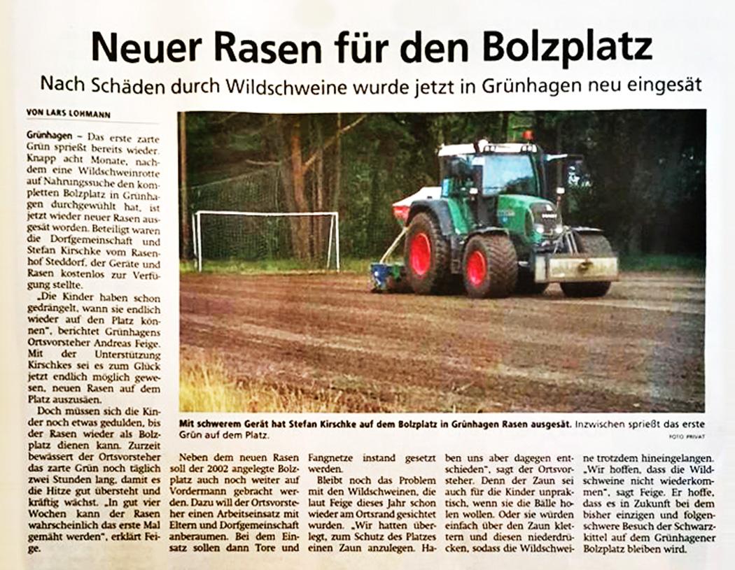 Pressebericht Rasenhof Bienenbüttel